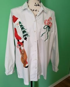 IZOD LS Handpainted Button Down Shirt size Large